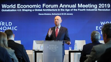 Klaus Schwab, Founder and Executive Chairman of the WEF addresses a news conference ahead of the Davos annual meeting in Cologny