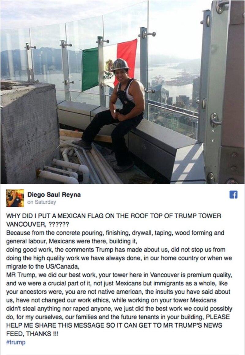 """El trabajador de una de las torres en Canadá del aspirante a la nominación republicana quiere que el mensaje le llegue al empresario: """"no nos robamos nada ni violamos a nadie""""."""