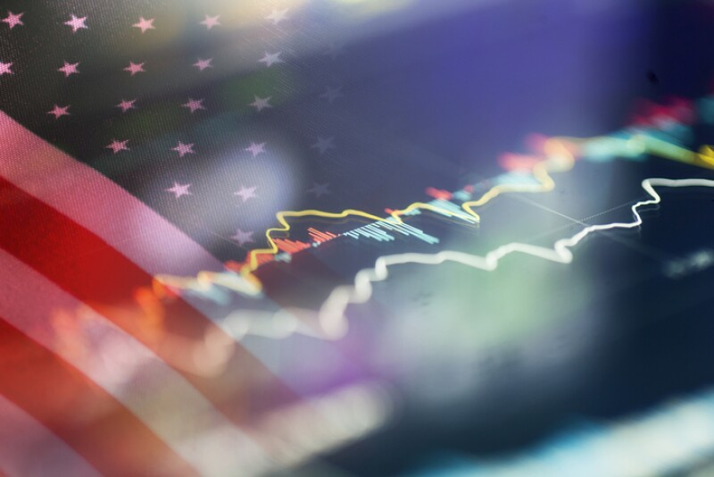 american flag with stock trend