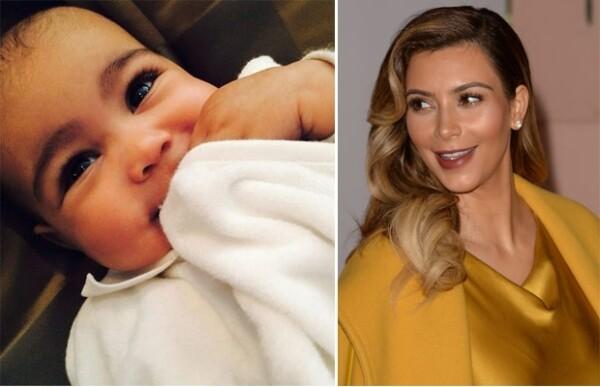 Kim compartió esta imagen de su hija de medio año de edad hace varios días donde vimos que cada vez se parece más a ella.