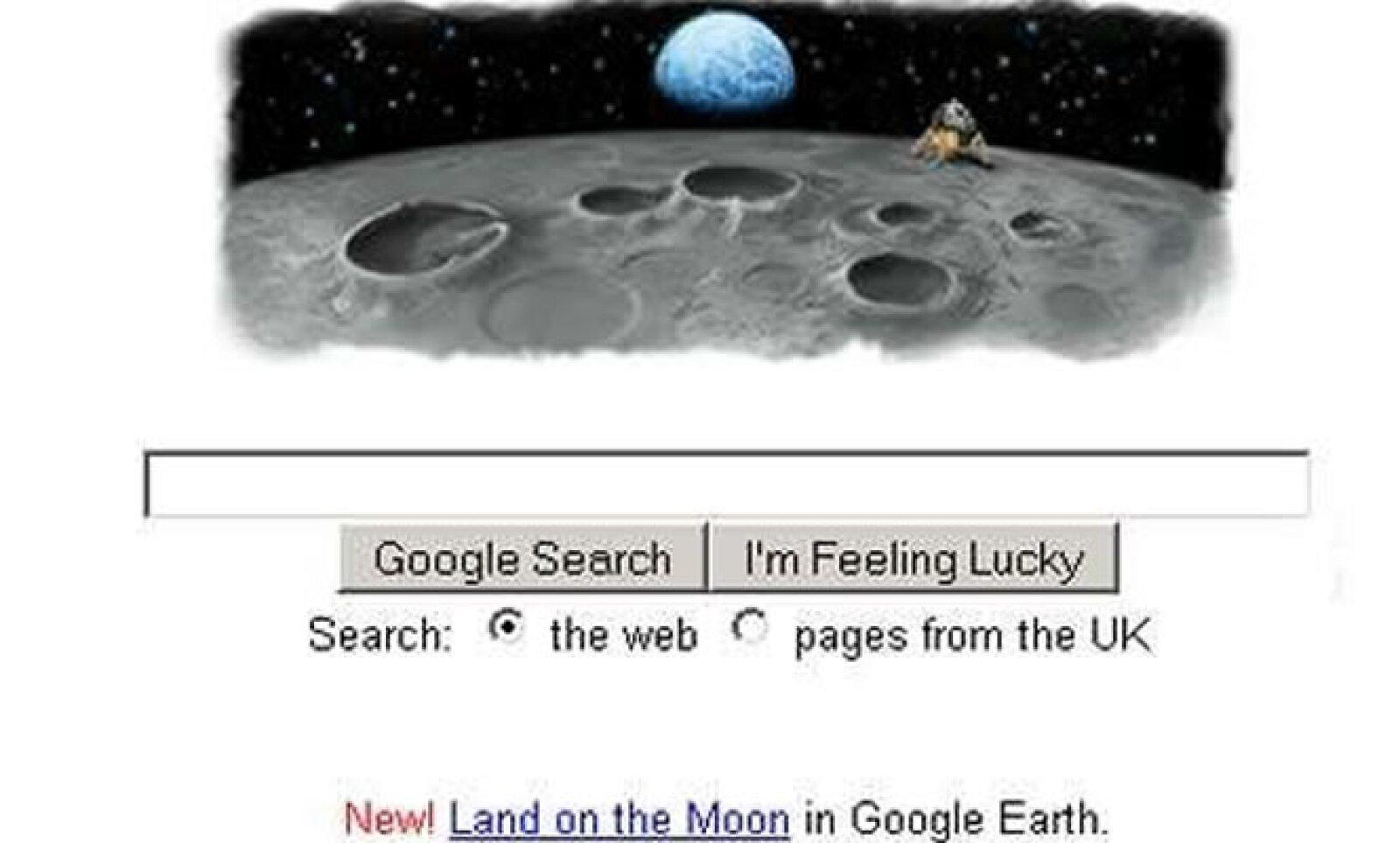 El 20 de julio de 2009 la tecnológica celebró con este 'doodle' los 40 años desde que el primer hombre llegó al satélite natural de la Tierra.