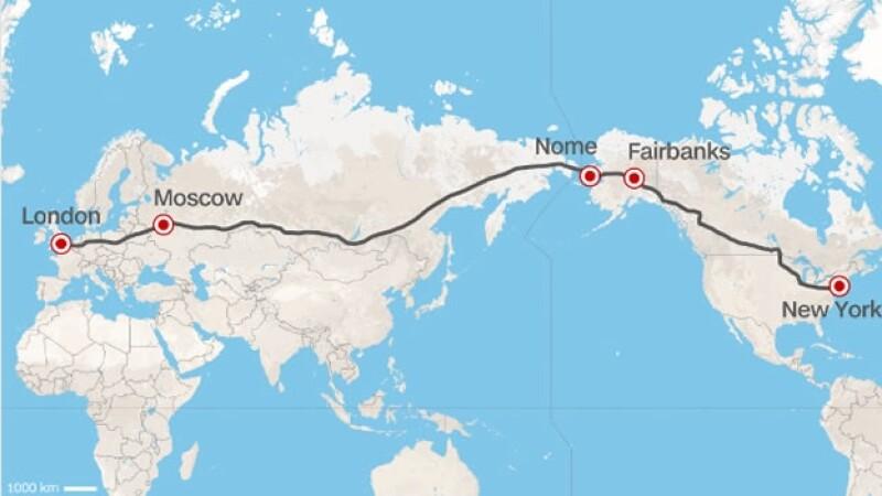 El trayecto de la superautopista busca atravesar Europa, Asia y América