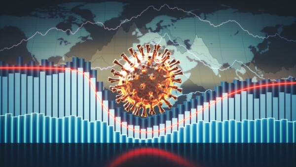 Abstract coronavirus economic infographics 3D concept with charts, graphs and world map in the background and a virus cell in the centre