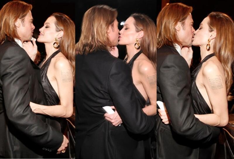 La pareja más perseguida de Hollywood, se dejó ver en la entrega de los SAG Awards, como pocas ocasiones lo hacen, muy cariñosos y románticos.