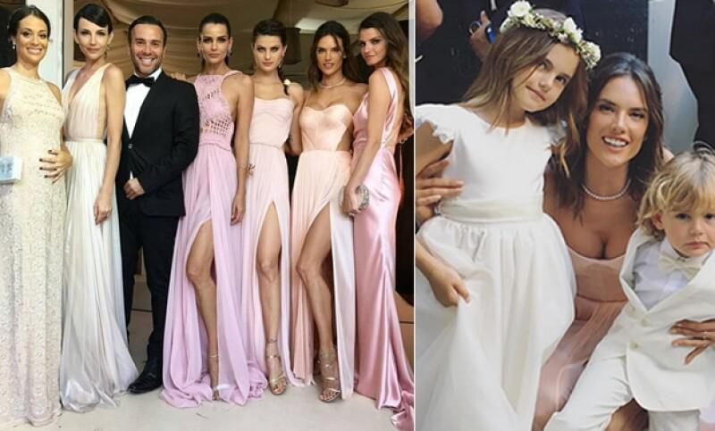 Alessandra Ambrosio asistió con sus hijos y vestida de rosa, así como el resto de las damas.