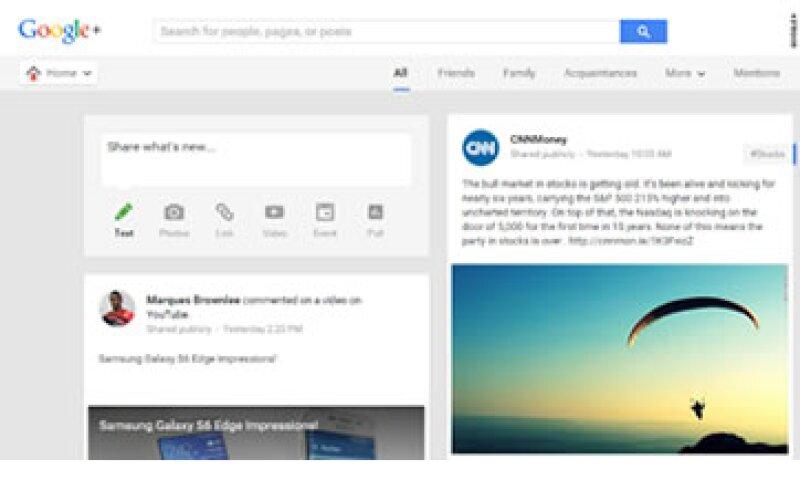 La red social de Google tuvo menos éxito del esperado. (Foto: Google+)