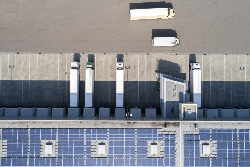 Semi Trucks at Warehouse, Aerial View