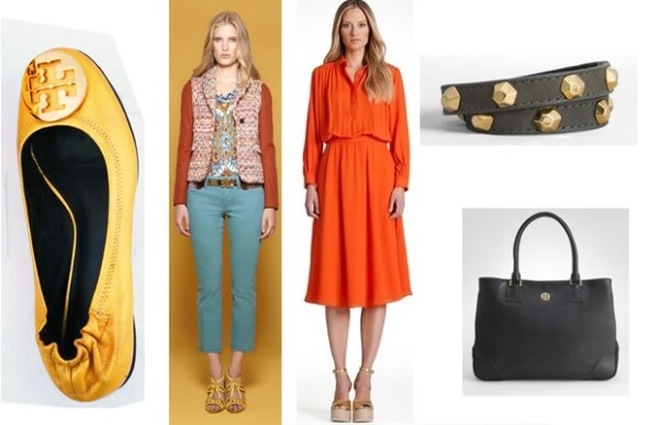 Reva flats, pantalones de color, vestido Christelle, wrap bracelet y la bolsa Robinson Tote.