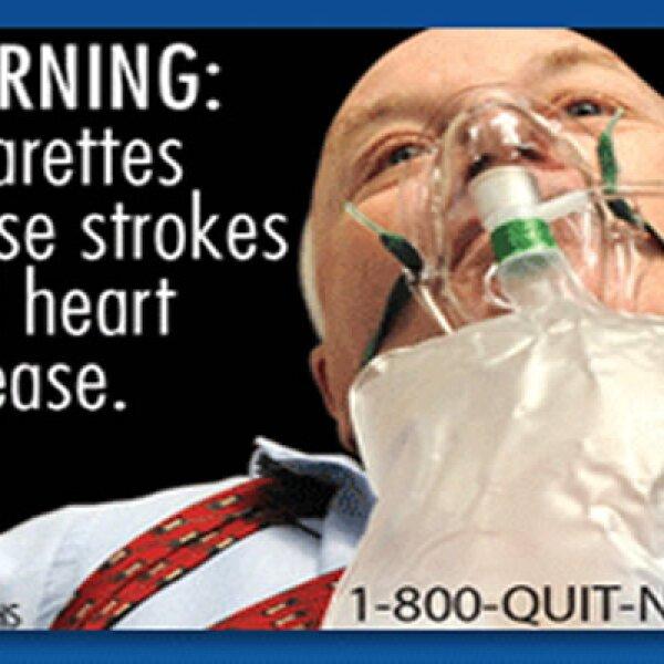 Cada etiqueta incluye un número telefónico para los que quieran dejar de fumar.