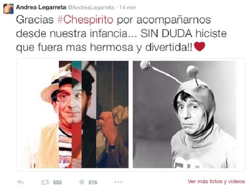 Andrea Legarreta expresó su sentir por la muerte del comediante.