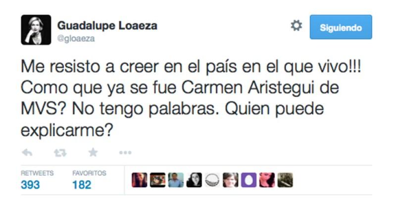 La escritora Guadalupe Loaeza externó su molestia por el despido de la periodista.