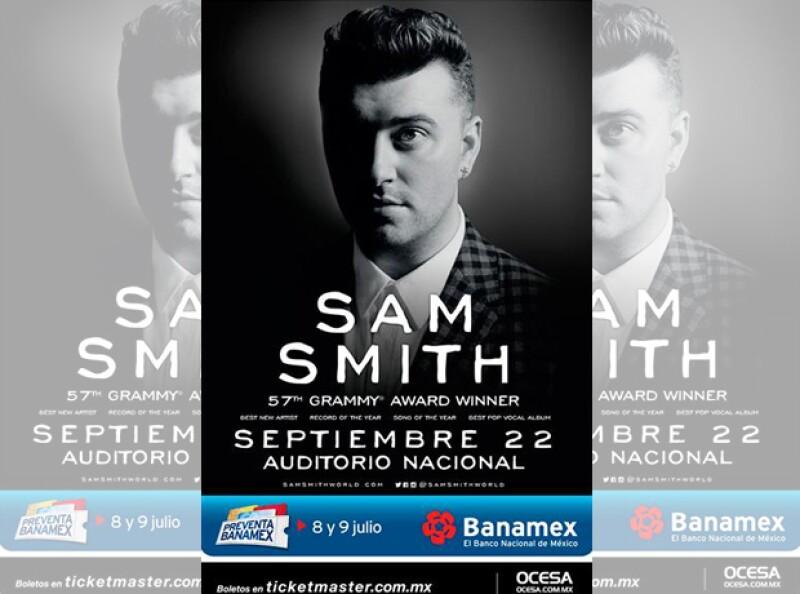 El póster oficial de Sam Smith y su próxima fecha en México.