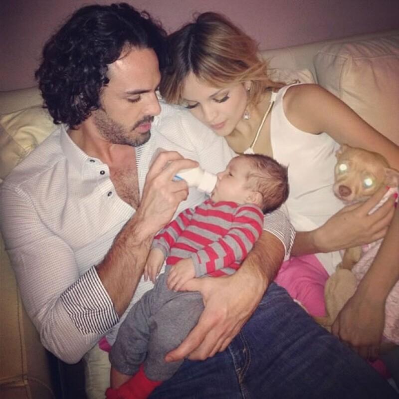 Con su sobrino Luca y su ex novio Pepe Díaz.