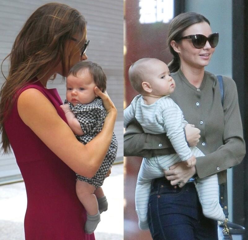 Victoria Beckham con Harper y Miranda Kerr con Flynn.