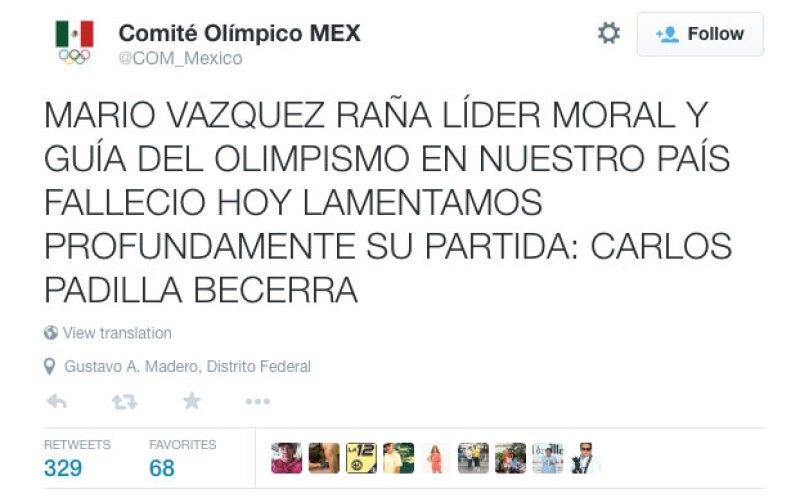 El Comité Olímpico Mexicano informó sobre el deceso de su ex titular.