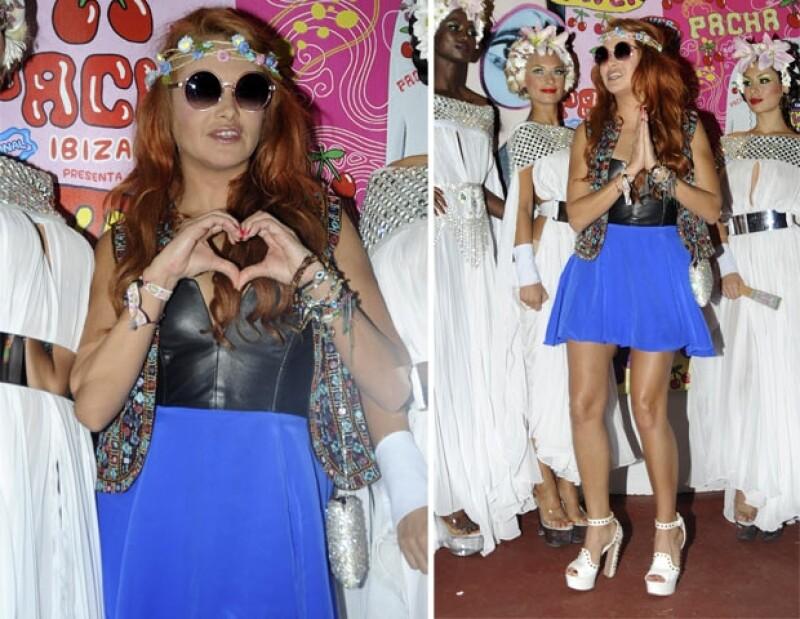 Paulina Rubio viajó a Ibiza para acudir al antro Pachá.