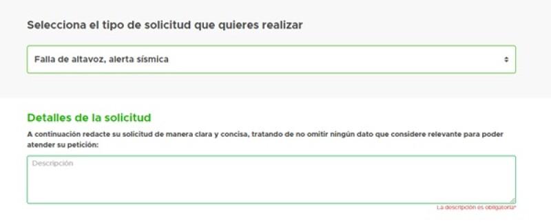 """Reporta la falla en el SUAC, selecciona """"Fallas altavoz, alerta sísmica""""."""