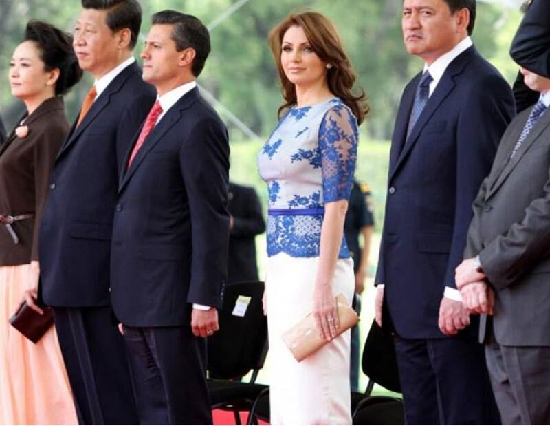 Angélica durante la visita del mandatario de la República Popular de China.