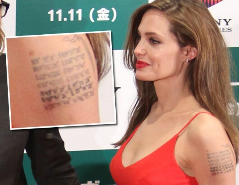 Angelina Jolie se tatuó por sus hijos y Brad Pitt.