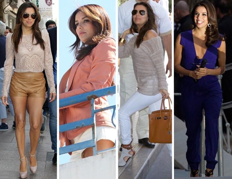 La guapa actriz de raices mexicanas ha sorprendido con sus diferentes cambios de vestuario en el Festival de Cannes.