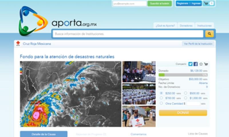 Aporta envía los donativos en tiempo real a la Cruz Roja para atender la emergencia por desastres naturales (Foto: Aporta.org.mx)