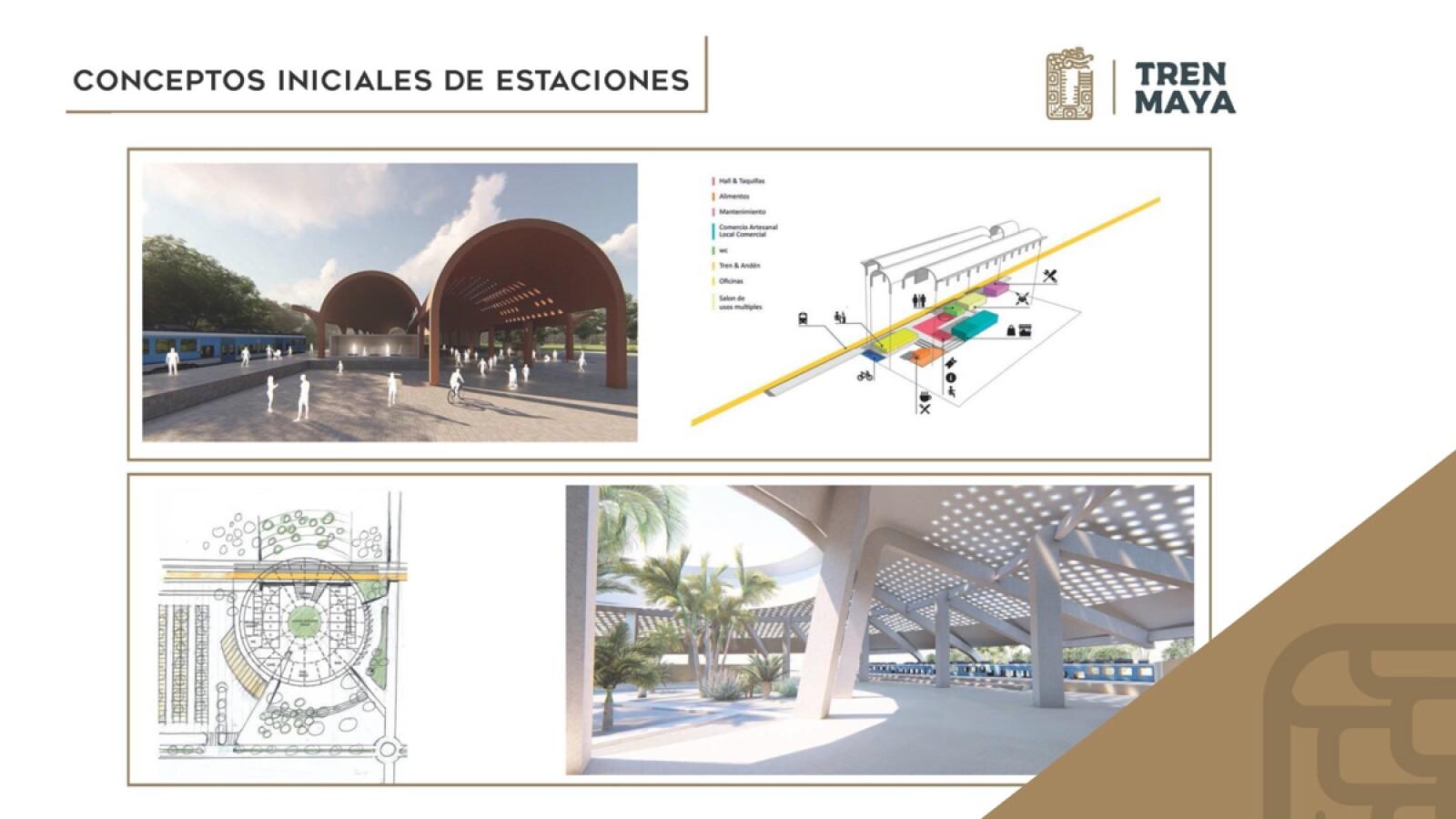 Primeros diseños de las estaciones del Tren Maya