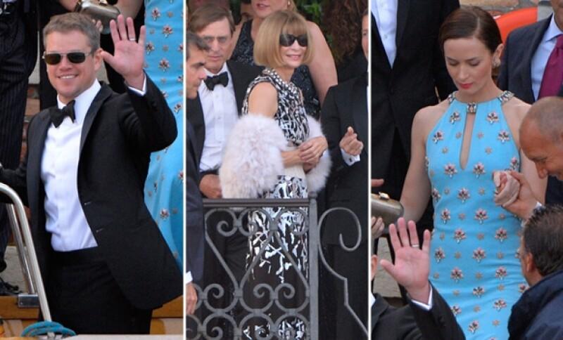 Matt Damon, Anna Wintour y Emily Blunt fueron captados en el momento en que se dirigían al lugar de la boda.