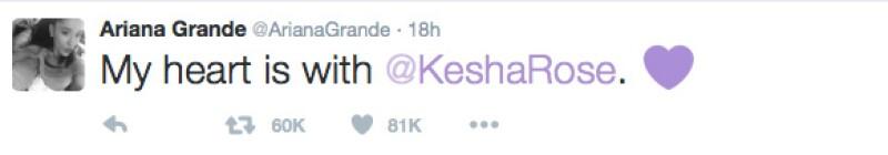 Ariana se mostró a favor de la cantante.
