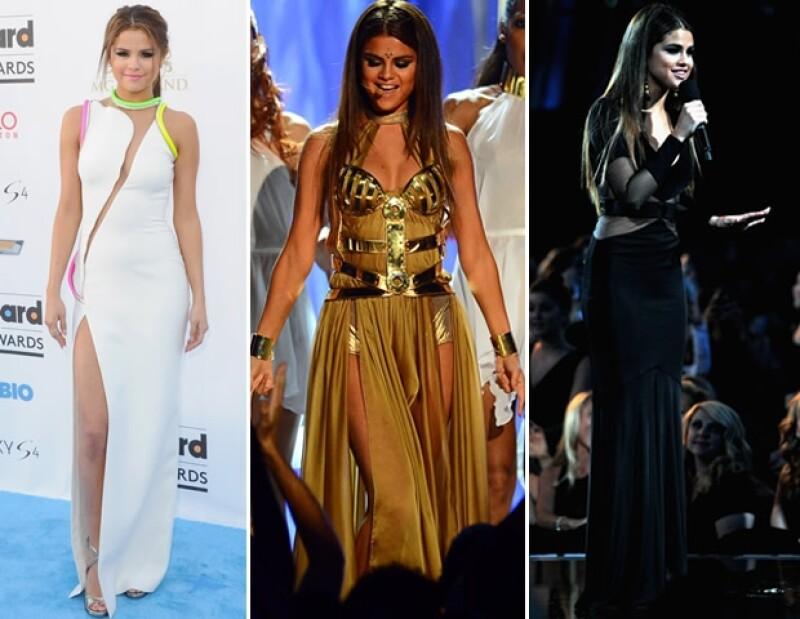 La joven cantante sorprendió en los premios Billboard 2013 con tres diferentes looks que mostraron su lado más sexy.