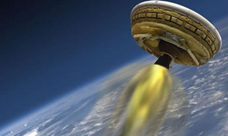 Una ilustración del 'platillo volador' que la NASA prueba como parte de futuras misiones a Marte. (Foto: NASA/JPL-Caltech)