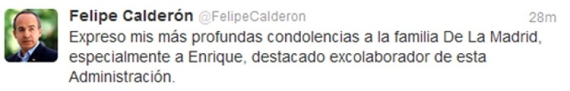 El presidente de México Felipe Calderón externó sus condolencias a la familia de Miguel De La Madrid.