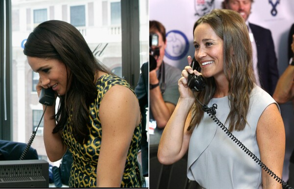 Meghan y Pippa contestando el teléfono