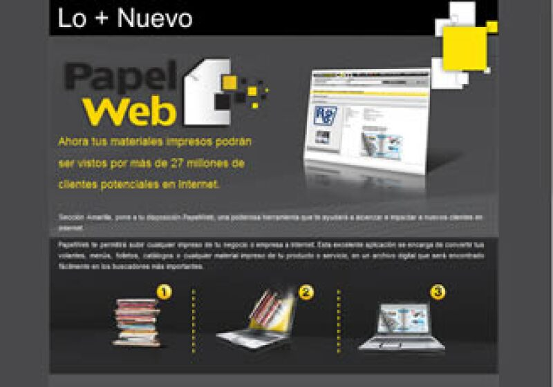 Sección Amarilla pretende dar mayor visibilidad a sus anunciantes a través del Papel Web sin la necesidad de contar con un sitio propio. (Foto: Cortesía)