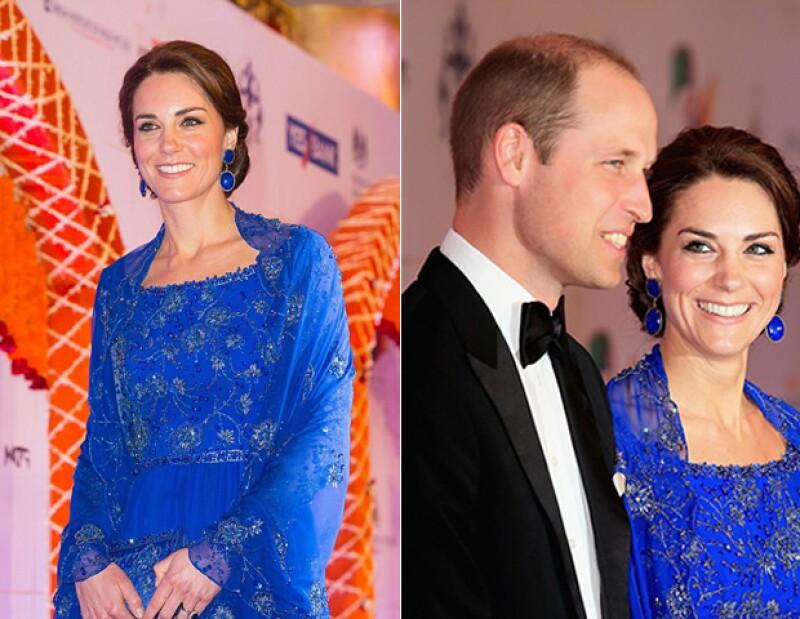 Para la gala, Kate lució un vestido precioso de Jenny Packham y bordado enteramente por manos hindús.
