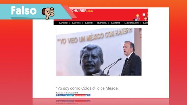 Falso que Meade haya dicho que es como Colosio