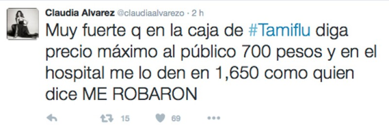 Claudia Álvarez ha informado que el medicamento para combatir la influenza lo están vendiendo mucho más caro que su precio original.