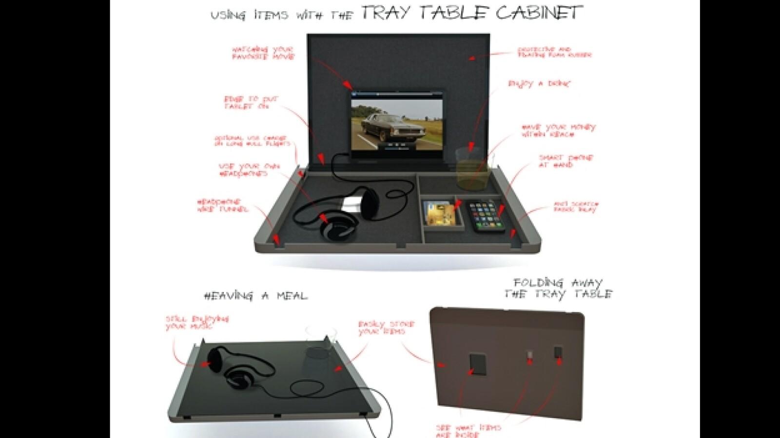mesa de servicio aviones gadgets TU Delfts Tray Table