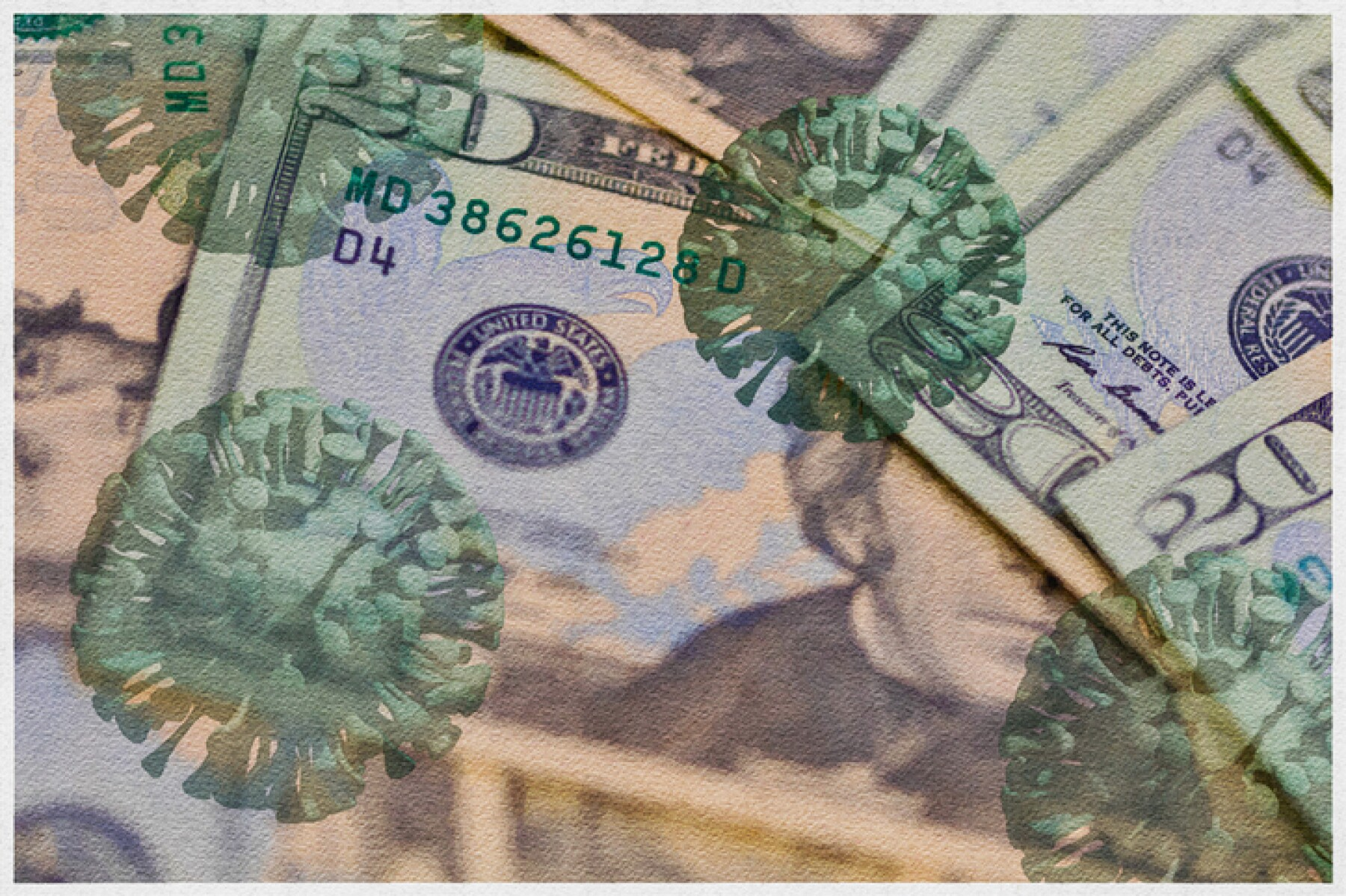 Watercolor filtered American twenty dollar bills, on which 3D rendered COVID- 19 virus has been applied.