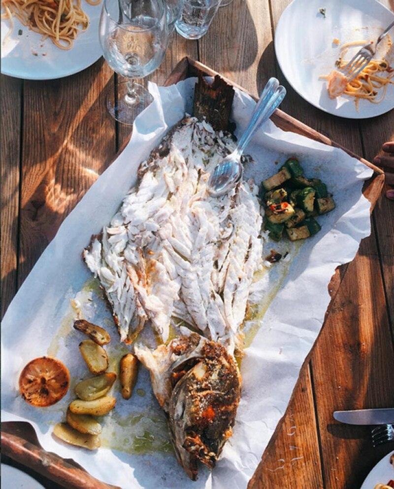 Michelle presumió que ha disfrutado de la comida mediterránea durante su viaje.