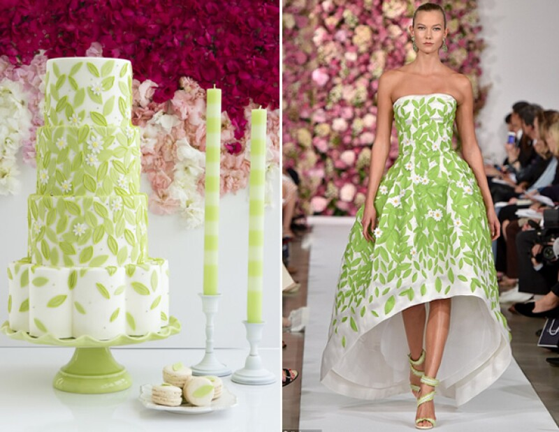 Este pastel toma referencias del vestido que Karlie Kloss llevó a la última pasarela de Oscar de la Renta.