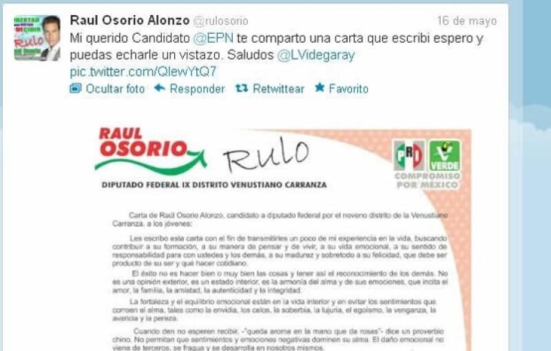 Carta de Raúl Osorio.