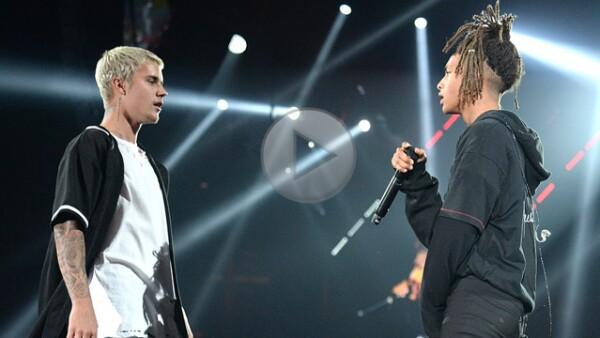 ¡Como en los viejos tiempos! JB y el hijjo de Will Smith volvieron al escenario para cantar el éxito Never say never.