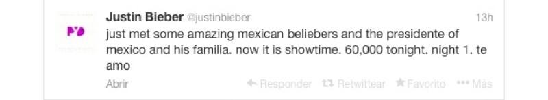 El astro compartió que había convivido con el presidente de México y su familia, posteriormente fuentes oficiales lo negaron y Bieber se retractó diciendo que en realidad sólo estuvo la familia.