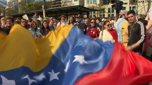 Así se vivió la manifestación venezolana por las elecciones en Argentina
