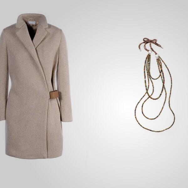 Una opción para dama con un abrigo largo con detalles en la cintura que se puede combinar con un collar.