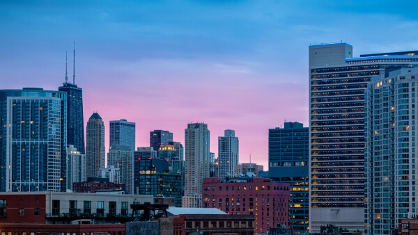 Colorful sunrise in the city. Cityscape of Chicago in the early morning.