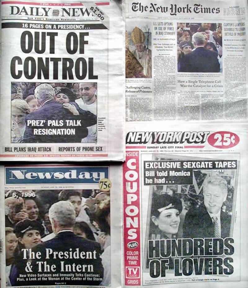 El escándalo Lewinsky dio la vuelta al país y al mundo en pocos días.
