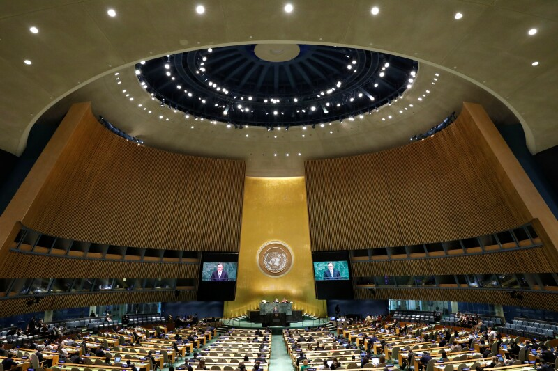 Chair of the Delegation of Canada Marc-Andre Blanchard addresses the United Nations General Assembly at U.N. headquarters in New York