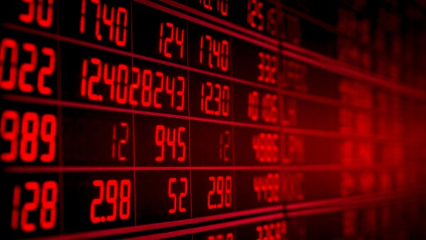 red electronic board of stock market