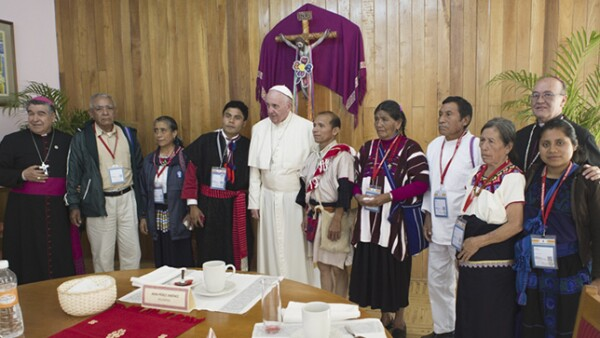 El pontífice tuvo un encuentro privado con representantes de las comunidades indígenas de Chiapas.